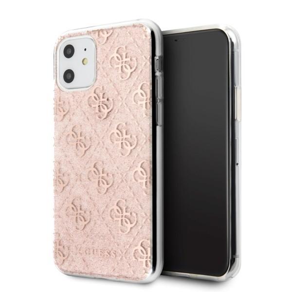 Husa Premium Guess Glitter iPhone 11 Roz Gold, Silicon - Guhcn61pcu4glpi imagine itelmobile.ro 2021
