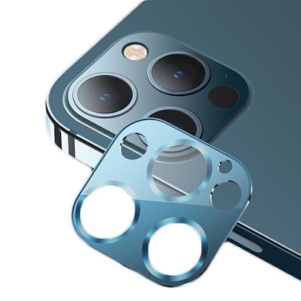 Protectie Camera Usams Metal Si Sticla Securizata Pentru iPhone 12 Pro Max - Albastru imagine itelmobile.ro 2021
