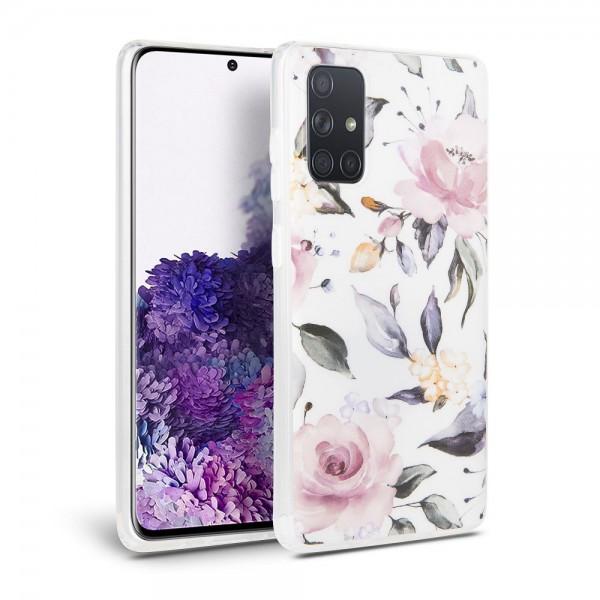 Husa Spate Tech-protect Floral Silicone Samsung Galaxy A51 Alb imagine itelmobile.ro 2021