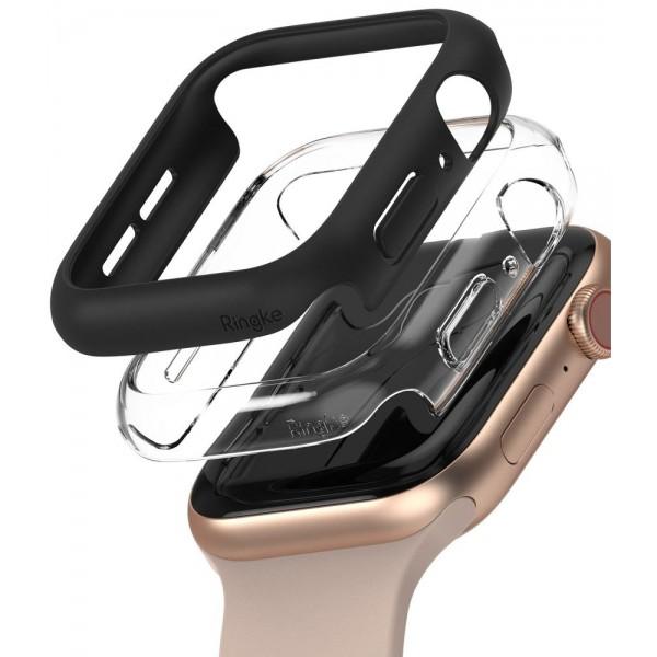 Set 2 X Husa Ringke Slim Compatibila Cu Apple Watch 4/5/6/se 44mm, 1 X Negru, 1 X Transparenta imagine itelmobile.ro 2021