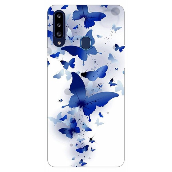 Husa Silicon Soft Upzz Print Samsung Galaxy A20s Model Blue Butterflies imagine itelmobile.ro 2021