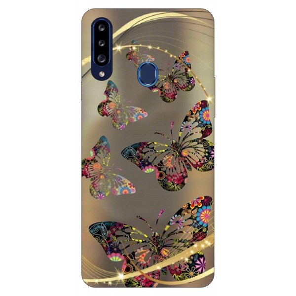 Husa Silicon Soft Upzz Print Samsung Galaxy A20s Model Golden Butterfly imagine itelmobile.ro 2021