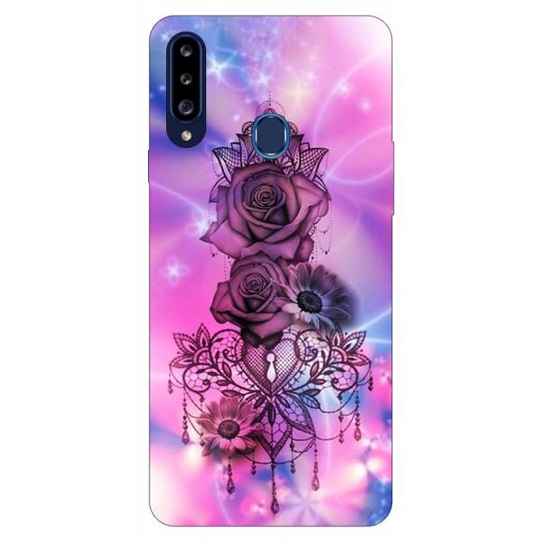 Husa Silicon Soft Upzz Print Samsung Galaxy A20s Model Neon Rose imagine itelmobile.ro 2021