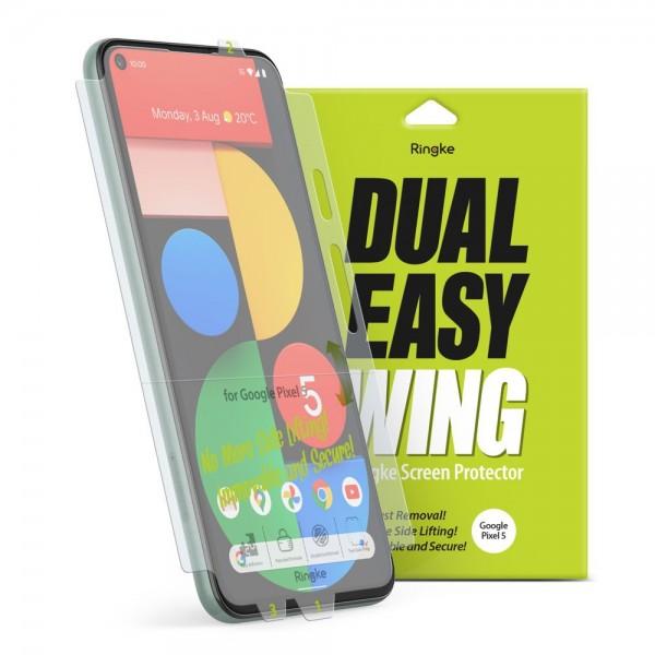 Folie Premium Full Cover Ringke Dual Easy Compatibila Cu Google Pixel 5, Transparenta -2 Bucati In Pachet imagine itelmobile.ro 2021