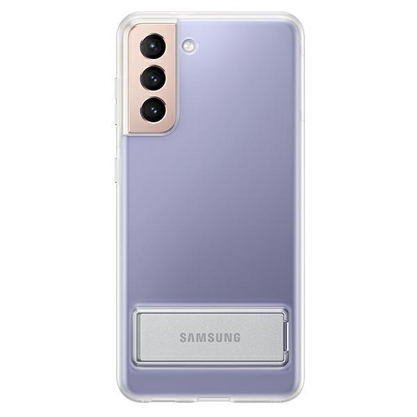 Husa Premium Originala Samsung Galaxy S21, Silicon, Transparenta Cu Stand Metalic - Ef-jg991ct imagine itelmobile.ro 2021