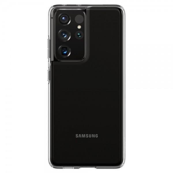 Husa Premium Spigen Liquid Crystal Pentru Samsung Galaxy S21 Ultra, Silicon, Transparent imagine itelmobile.ro 2021