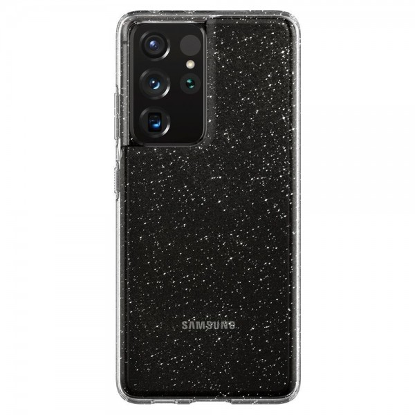 Husa Premium Spigen Liquid Crystal Pentru Samsung Galaxy S21 Ultra, Silicon, Transparent Glitter imagine itelmobile.ro 2021
