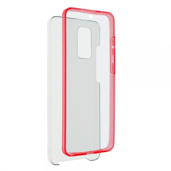 Husa 360 Grade Full Cover Upzz Case Compatibila Cu Samsung Galaxy S21, Transparenta Cu Margine Rosie imagine itelmobile.ro 2021