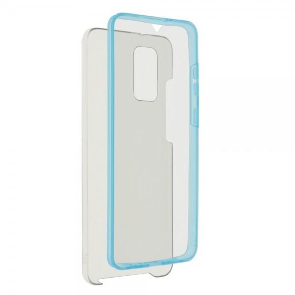 Husa 360 Grade Full Cover Upzz Case Compatibila Cu Samsung Galaxy S21, Transparenta Cu Margine Albastra imagine itelmobile.ro 2021