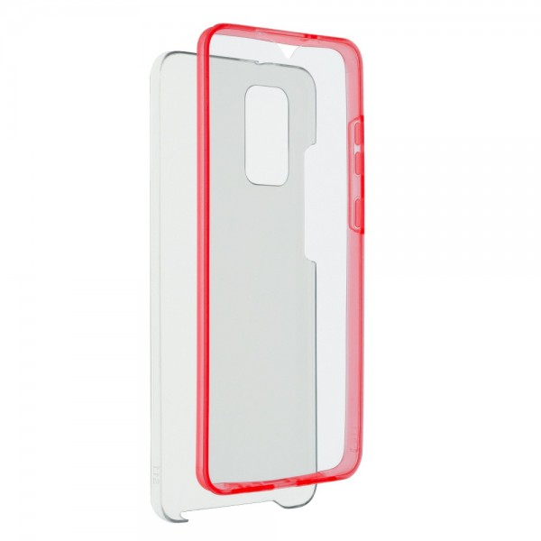 Husa 360 Grade Full Cover Upzz Case Compatibila Cu Samsung Galaxy S21 Plus, Transparenta Cu Margine Rosie imagine itelmobile.ro 2021