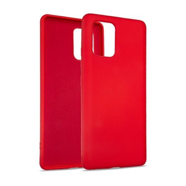Husa Premium Upzz No Logo Soft Silicon Compatibila Cu Samsung Galaxy S10 Lite, Invelis Alcantara La Interior, Rosu imagine itelmobile.ro 2021