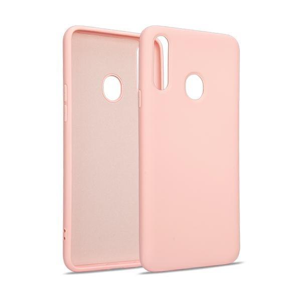 Husa Premium Upzz Liquid Silicon Pentru Samsung Galaxy A20s, Cu Invelis Alcantara La Interior , Roz imagine itelmobile.ro 2021