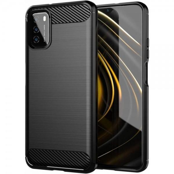 Husa Spate Upzz Carbon Pro Compatibila Cu Xiaomi Poco M3, Silicon, Negru imagine itelmobile.ro 2021