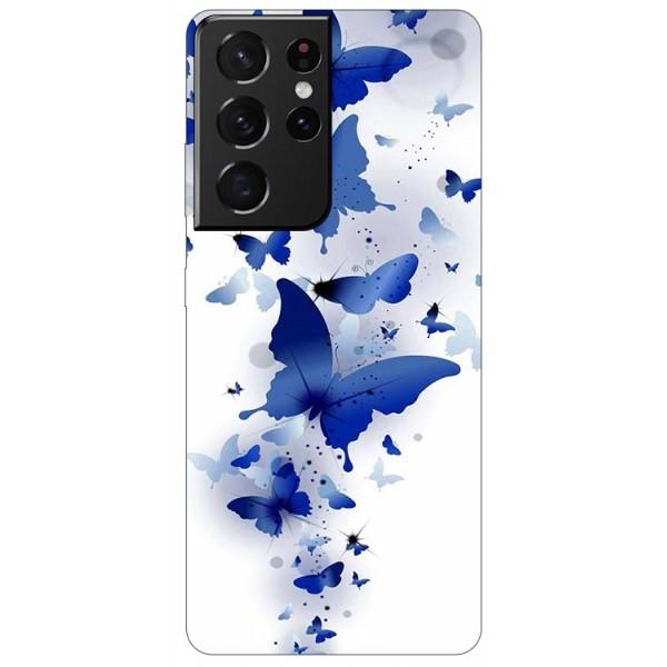 Husa Silicon Soft Upzz Print Compatibila Cu Samsung Galaxy S21 Ultra Model Blue Butterflies imagine itelmobile.ro 2021