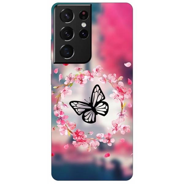 Husa Silicon Soft Upzz Print Samsung Compatibila Cu Galaxy S21 Ultra Model Butterfly imagine itelmobile.ro 2021