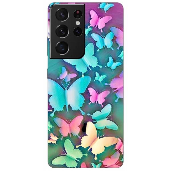 Husa Silicon Soft Upzz Print Compatibila Cu Samsung Galaxy S21 Ultra Model Colorfull Butterflies imagine itelmobile.ro 2021