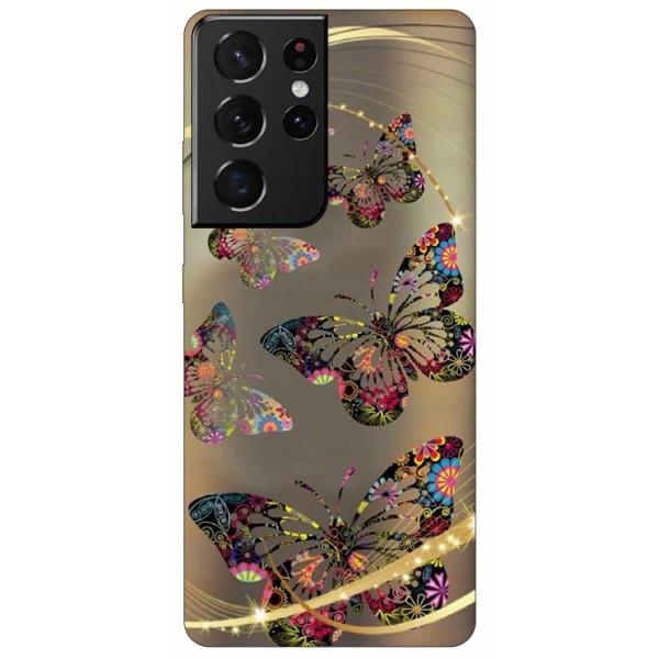 Husa Silicon Soft Upzz Print Compatibila Cu Samsung Galaxy S21 Ultra Model Golden Butterfly imagine itelmobile.ro 2021