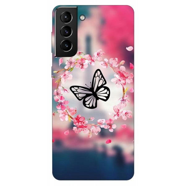 Husa Silicon Soft Upzz Print Compatibila Cu Samsung Galaxy S21 Plus Model Butterfly imagine itelmobile.ro 2021