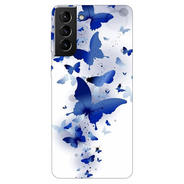 Husa Silicon Soft Upzz Print Compatibila Cu Samsung Galaxy S21 Model Blue Butterflies imagine itelmobile.ro 2021