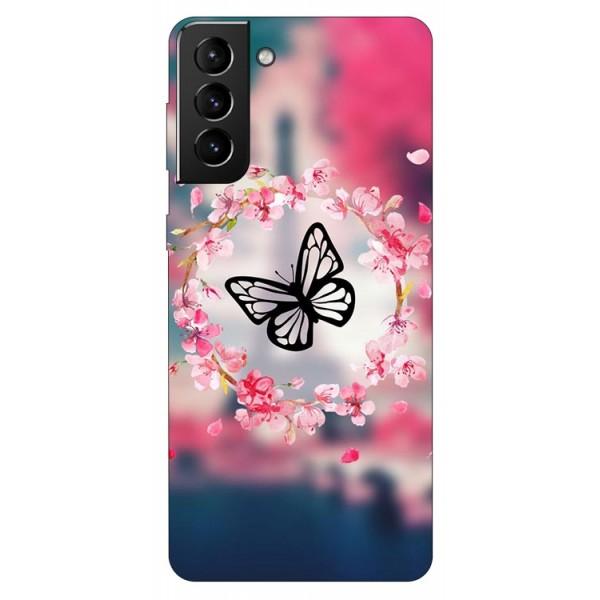 Husa Silicon Soft Upzz Print Compatibila Cu Samsung Galaxy S21 Model Butterflies imagine itelmobile.ro 2021