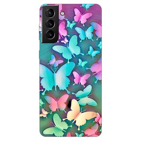 Husa Silicon Soft Upzz Print Compatibila Cu Samsung Galaxy S21 Model Colorfull Butterflies imagine itelmobile.ro 2021