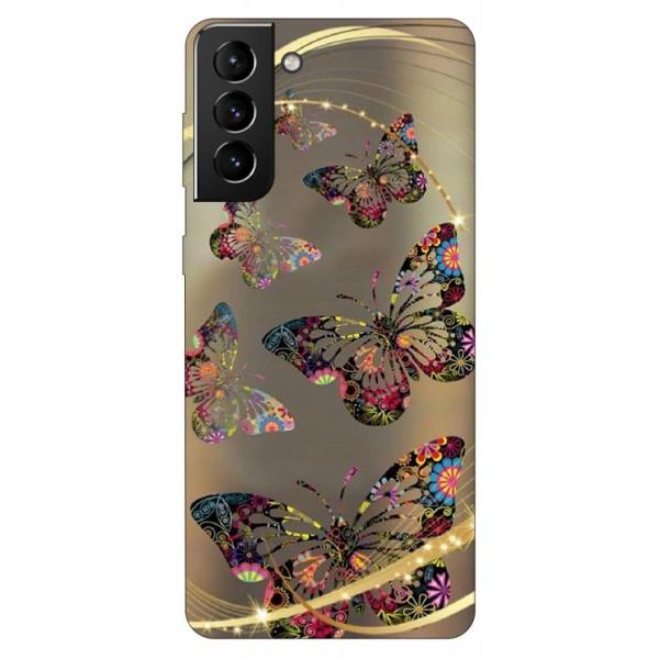 Husa Silicon Soft Upzz Print Compatibila Cu Samsung Galaxy S21 Model Golden Butterfly imagine itelmobile.ro 2021