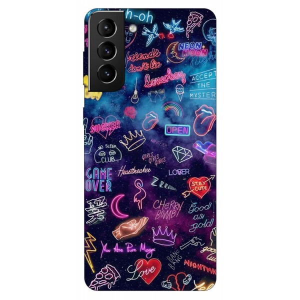 Husa Silicon Soft Upzz Print Compatibila Cu Samsung Galaxy S21 Model Neon imagine itelmobile.ro 2021