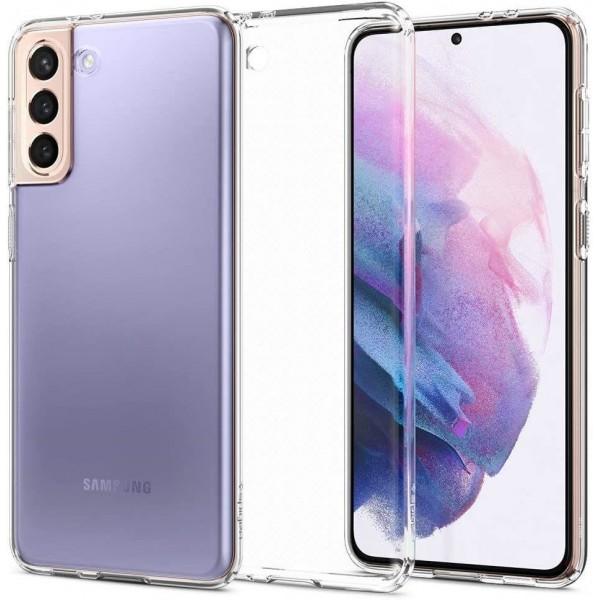 Husa Premium Spigen Liquid Crystal Pentru Samsung Galaxy S21, Silicon, Transparent imagine itelmobile.ro 2021