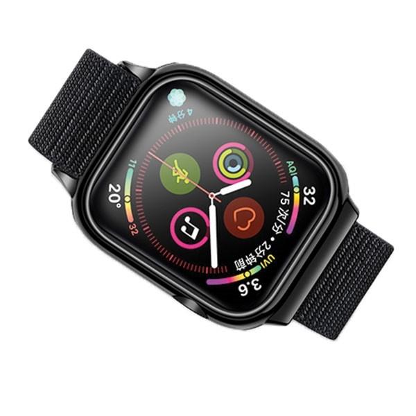 Curea Apple Watch Usams Nylon Cu Cadru Compatibila Cu Apple Watch 4 / 5 / 6 / Se (44mm), Negru imagine itelmobile.ro 2021