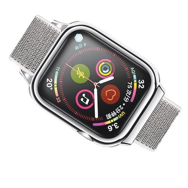 Curea Apple Watch Usams Nylon Cu Cadru Compatibila Cu Apple Watch 4 / 5 / 6 / Se (44mm), Silver imagine itelmobile.ro 2021