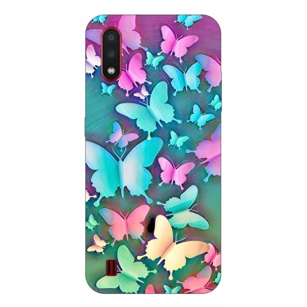 Husa Silicon Soft Upzz Print Compatibila Cu Samsung Galaxy A01 Model Colorfull Butterflies imagine itelmobile.ro 2021