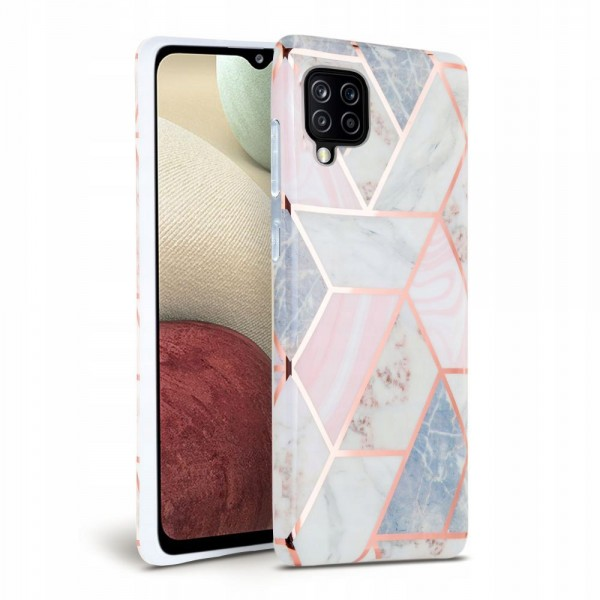 Husa Spate Tech-protect Marble Silicone Samsung Galaxy A12, Roz imagine itelmobile.ro 2021