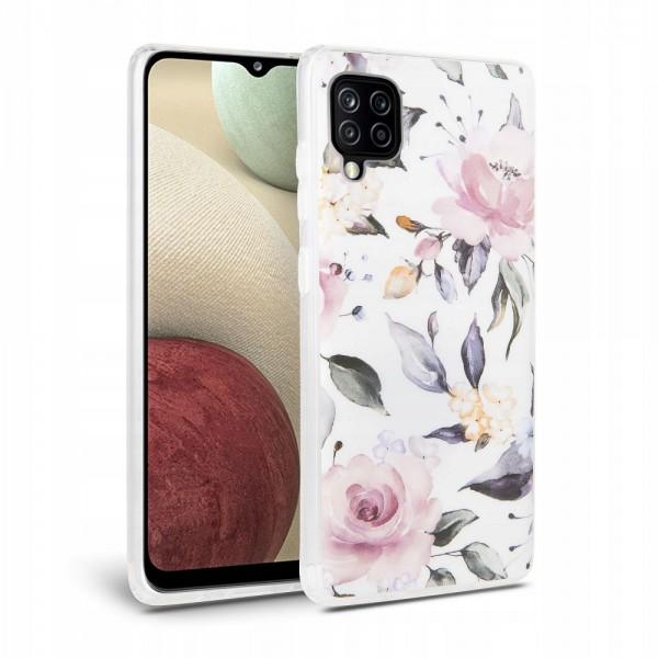 Husa Spate Tech- Protect Floral Silicone Samsung Galaxy A12, Alb imagine itelmobile.ro 2021