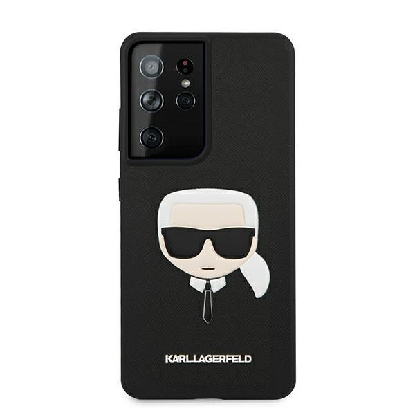Husa Premium Originala Karl Lagerfeld Compatibila Cu Samsung Galaxy S21 Ultra, Colectia Saffiano Karl Head, Negru - 96718 imagine itelmobile.ro 2021