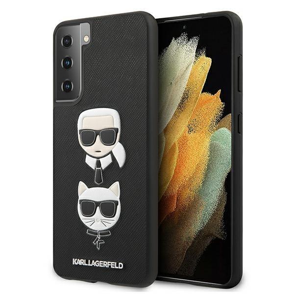 Husa Premium Originala Karl Lagerfeld Compatibila Cu Samsung Galaxy S21+ Plus, Colectia Saffiano Karl Si Choupette, Negru - 6732 imagine itelmobile.ro 2021