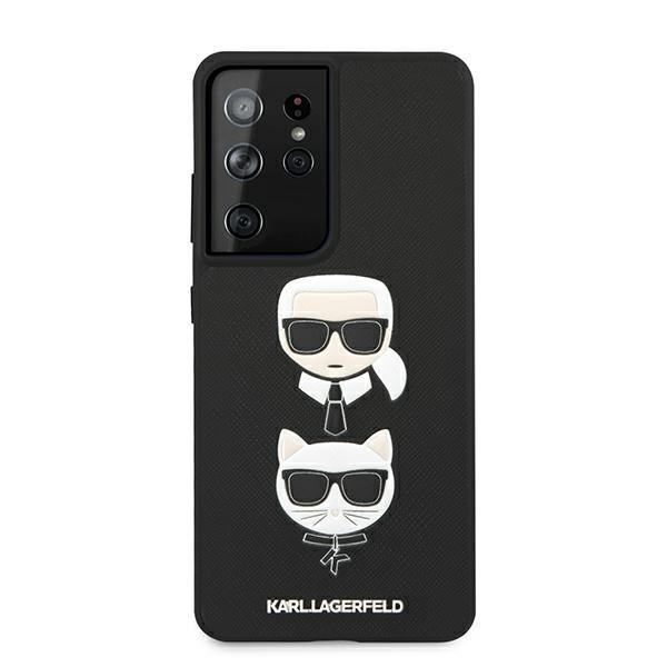 Husa Premium Originala Karl Lagerfeld Compatibila Cu Samsung Galaxy S21 Ultra, Colectia Saffiano Karl Si Choupette, Negru - 6749 imagine itelmobile.ro 2021