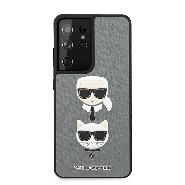 Husa Premium Originala Karl Lagerfeld Compatibila Cu Samsung Galaxy S21 Ultra, Colectia Saffiano Karl Si Choupette, Gri - 6770 imagine itelmobile.ro 2021
