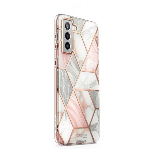 Husa Premium Supcase Cosmo Compatibila Cu Samsung Galaxy S21, Marble Roz imagine itelmobile.ro 2021