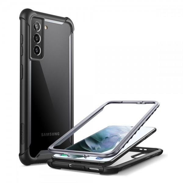 Husa Premium Iblason Ares Compatibila Cu Samsung Galaxy S21+ Plus, Negru Cu Spate Transparent imagine itelmobile.ro 2021