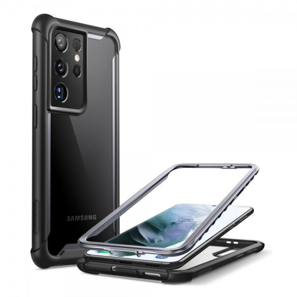 Husa Premium Iblason Ares Compatibila Cu Samsung Galaxy S21 Ultra, Negru Cu Spate Transparent imagine itelmobile.ro 2021