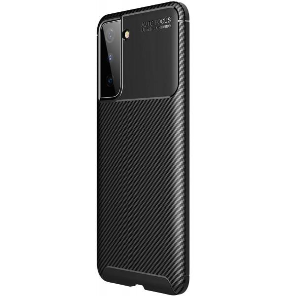 Husa Spate Upzz Carbon New Compatibila Cu Samsung Galaxy S21+ Plus, Silicon, Negru imagine itelmobile.ro 2021
