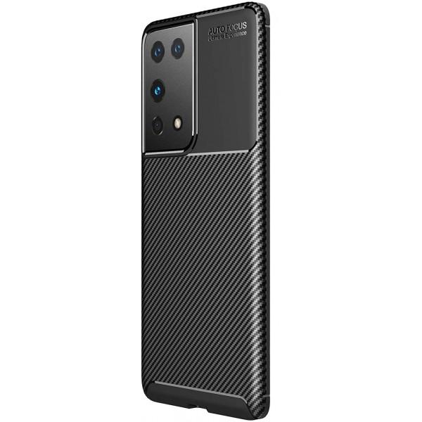Husa Spate Upzz Carbon New Compatibila Cu Samsung Galaxy S21 Ultra, Silicon, Negru imagine itelmobile.ro 2021
