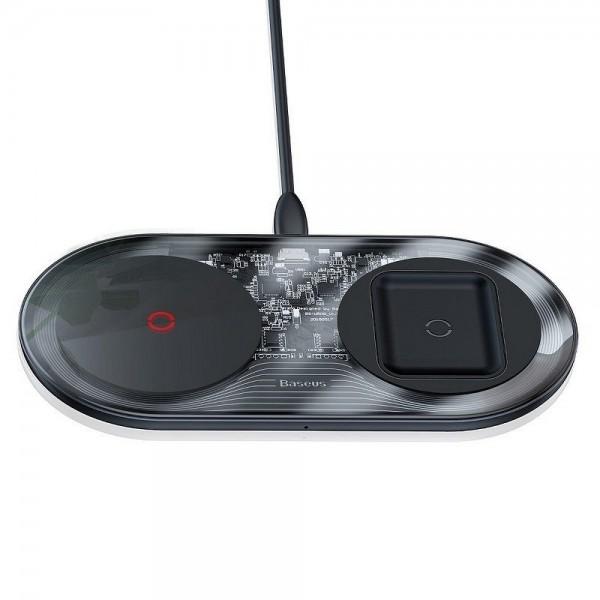 Incarcator Premium De Birou Wireless Baseus Turbo Simple 2 In 1 Pentru Telefon Si Airpods, 24w Cu Incarcator 12v imagine itelmobile.ro 2021