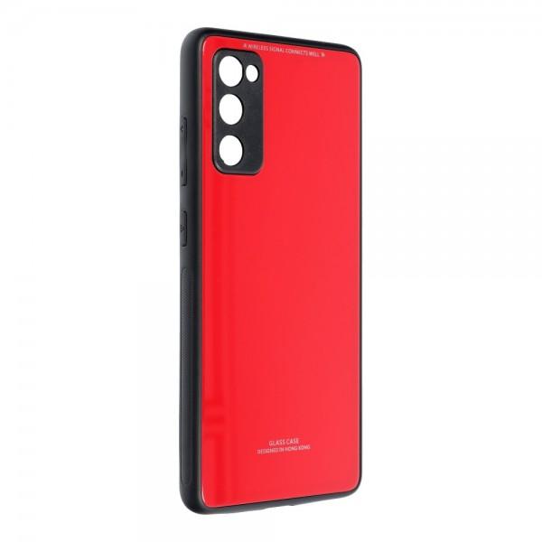 Husa Spate Upzz Glass Compatibila Cu Samsung Galaxy S20 Fe, Rosu imagine itelmobile.ro 2021