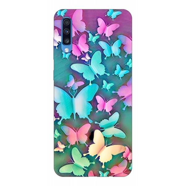 Husa Silicon Soft Upzz Print Compatibila Cu Samsung Galaxy A70 Model Colorfull Butterflies imagine itelmobile.ro 2021