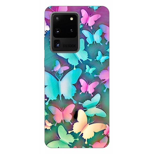 Husa Silicon Soft Upzz Print Compatibila Cu Samsung Galaxy S20 Ultra Model Colorfull Butterflies imagine itelmobile.ro 2021