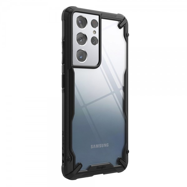 Husa Premium Ringke Fusion X Pentru Samsung Galaxy S21 Ultra, Transparenta Cu Rama Neagra imagine itelmobile.ro 2021