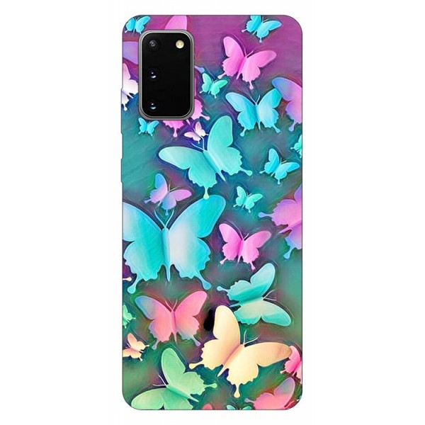Husa Silicon Soft Upzz Print Compatibila Cu Samsung Galaxy S20 Model Colorfull Butterflies imagine itelmobile.ro 2021