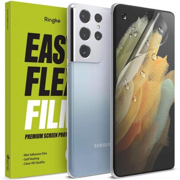 Folie Silicon Premium Ringke Dual Easy Pentru Samsung Galaxy S21 Ultra, 2 Bucati In Pachet, Transparenta, Silicon imagine itelmobile.ro 2021