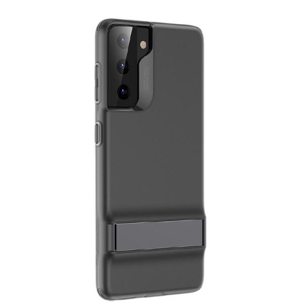 Husa Premium Esr Air Shield Boost Compatibila Cu Samsung S21, Silicon, Stand Metalic, Negru imagine itelmobile.ro 2021